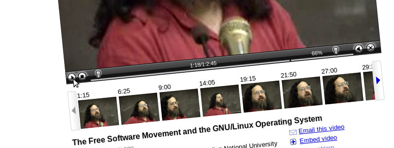 Screenshot of video.google.com: Richard Stallman - The Free Software Movement and the GNU/Linux Operation System