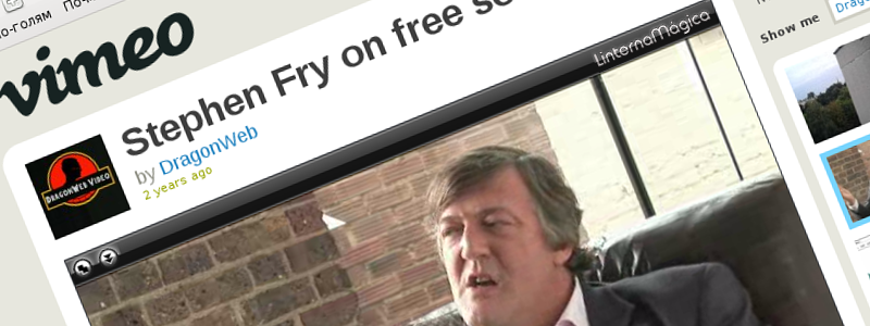 Screenshot of vimeo.com: Stephen Fry on free software